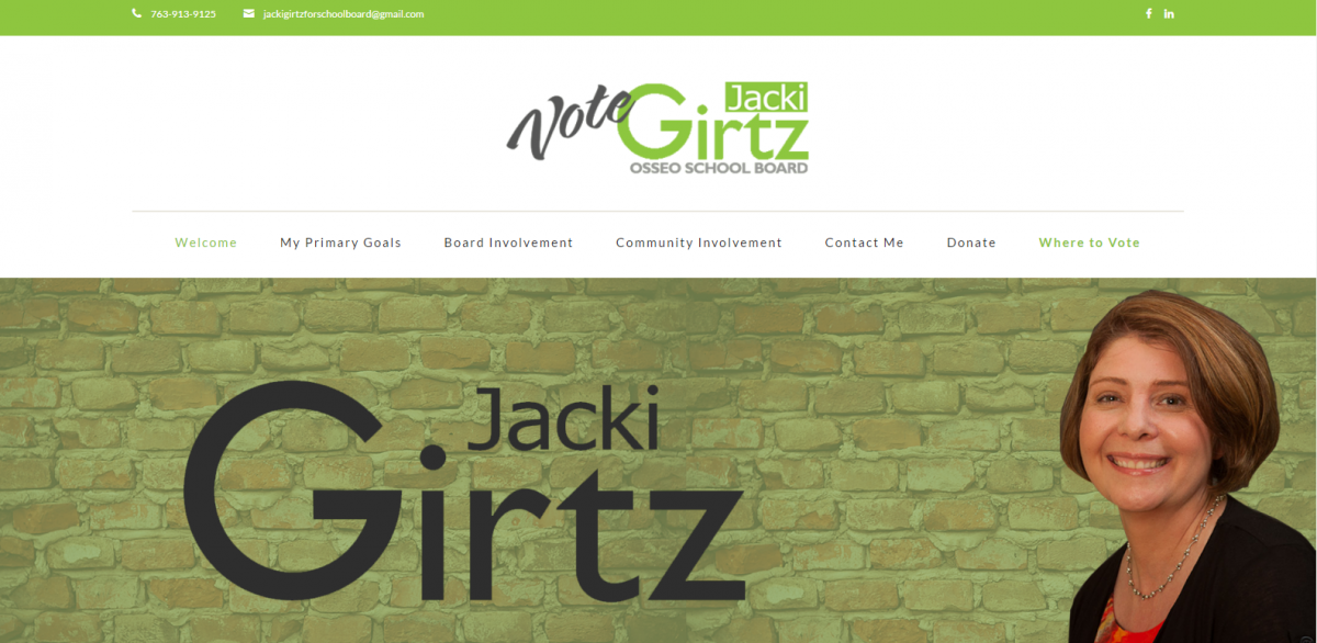 Screen Capture of Candidate Theme Customization for Jacki Girtz