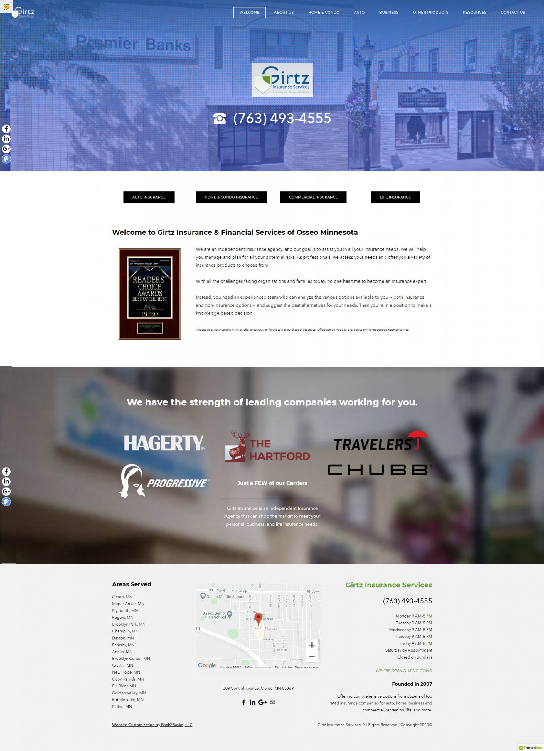 Girtz Insurance Website Home page - after design