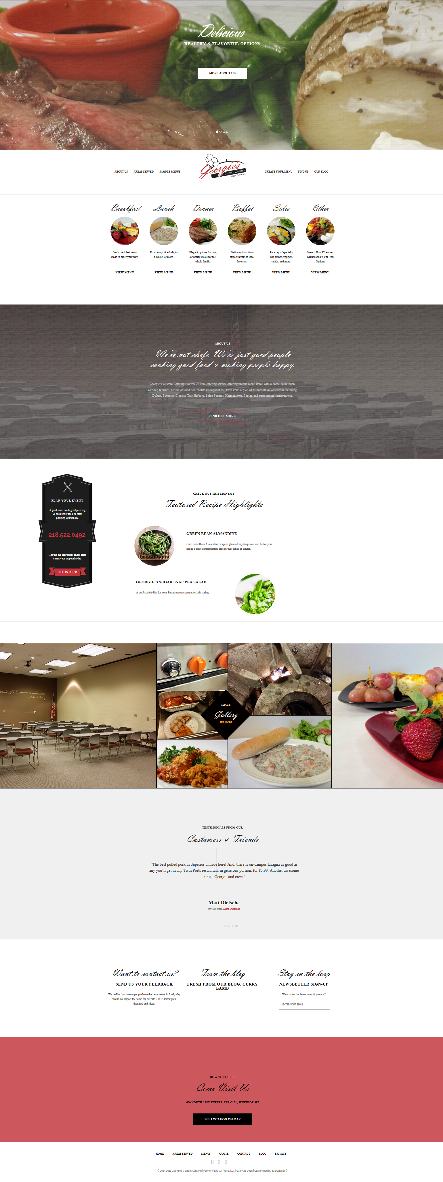 Georgies Custom Catering website home page