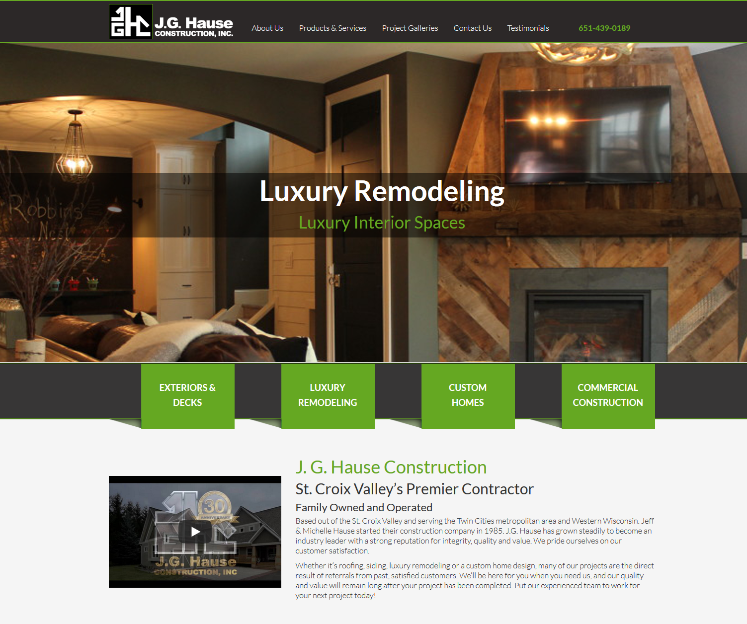 JG Hause website home page design