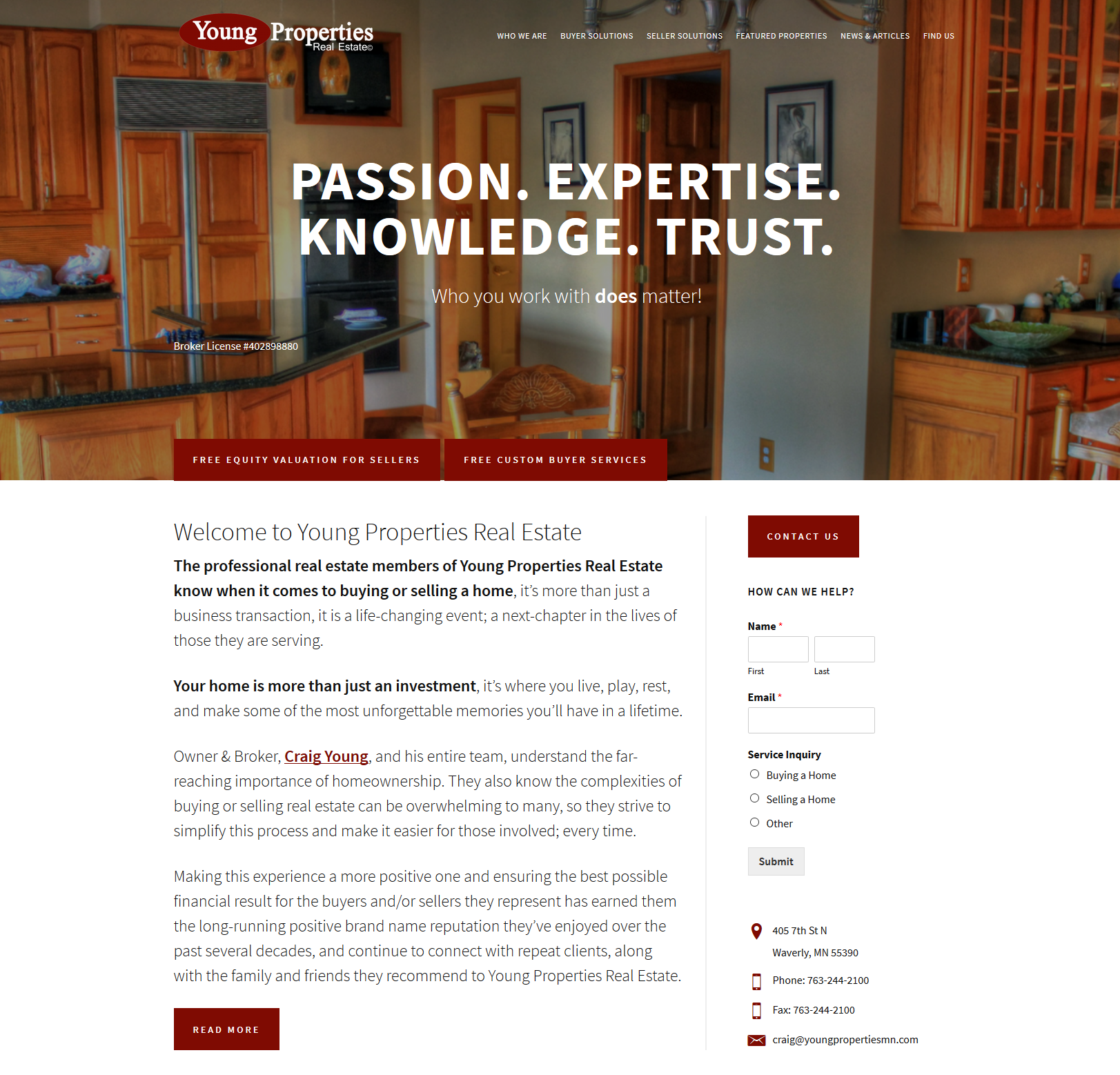 Young Properties Real Estate website design