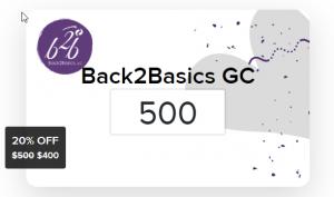 Back2Basics Gift Card 2