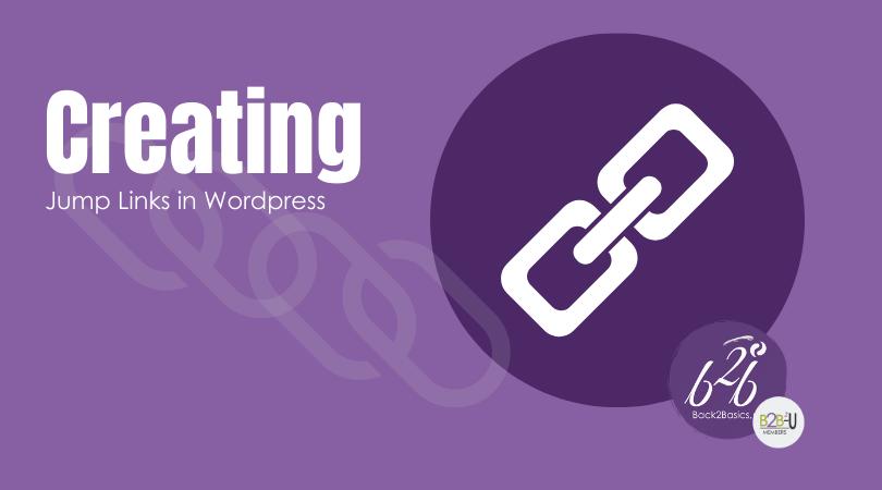 Creating Jump Links in WordPress