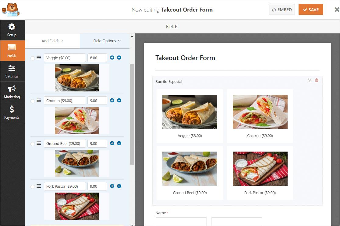 WPForms demo of food menu setup